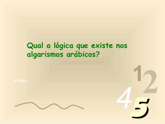 Qual a lógica que existe nos     algarismos arábicos?                                    1013456…                         ...