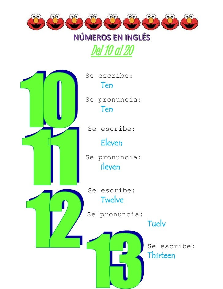 Aparador Dinn Jader Almeida ~ Números en inglés 10 20