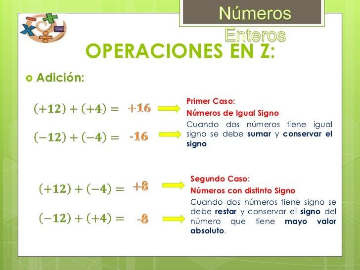 Sumar:<br />Números Enteros<br />9++10+5++12<br /><br />Signos iguales, se suman, se escribe el mismo signo ( + )<br />+...