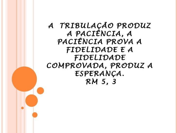A  TRIBULAÇÃO PRODUZ A PACIÊNCIA, A PACIÊNCIA PROVA A FIDELIDADE E A FIDELIDADE COMPROVADA, PRODUZ A ESPERANÇA.  RM 5, 3