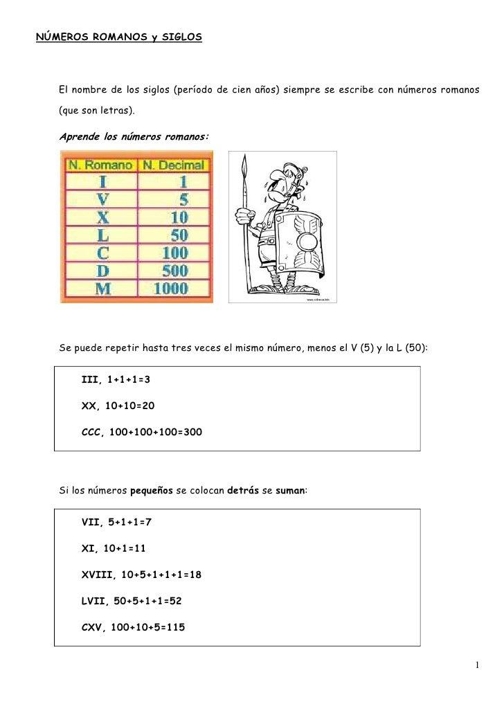 Números Romanos Y Siglos Gh23