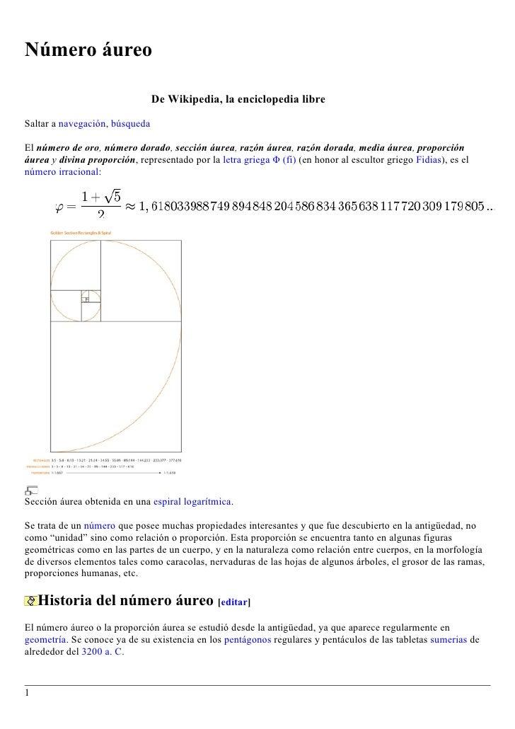 Número áureo                                  De Wikipedia, la enciclopedia libre  Saltar a navegación, búsqueda  El númer...
