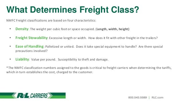 Freight class chart space time continuum richard white National motor freight classification nmfc