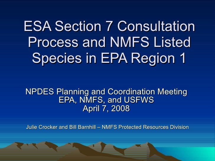 ESA Section 7 Consultation Process and NMFS Listed Species in EPA Region 1 NPDES Planning and Coordination Meeting  EPA, N...