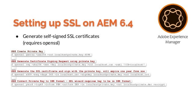 Setting up SSL on Adobe Experience Manager 6 3/6 4
