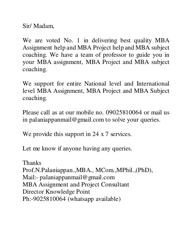 Mba assignment
