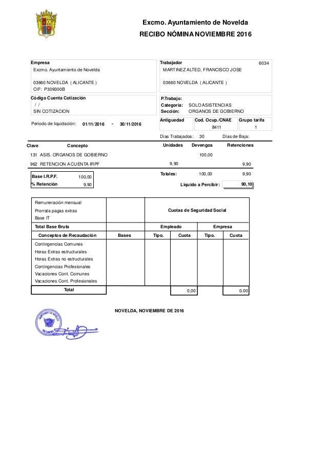 Excmo. Ayuntamiento de Novelda RECIBO NÓMINA NOVIEMBRE 2016 Código Cuenta Cotización Empresa ConceptoClave Retenciones Ant...