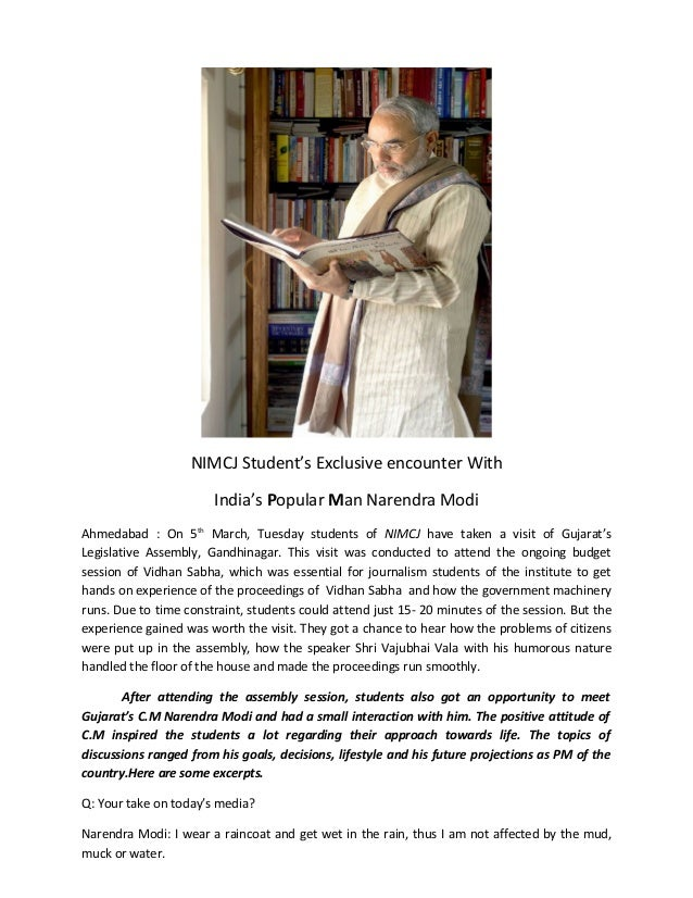 NIMCJ Student's Exclusive encounter With                       India's Popular Man Narendra ModiAhmedabad : On 5th March, ...