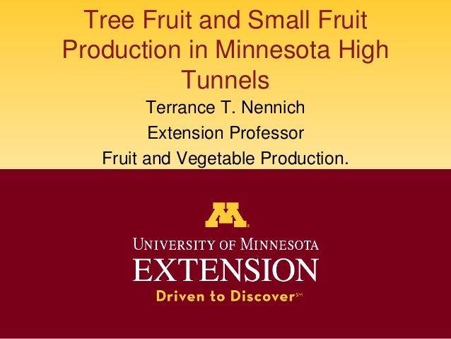 Tree Fruit and Small Fruit Production in Minnesota High Tunnels Terrance T. Nennich Extension Professor Fruit and Vegetabl...
