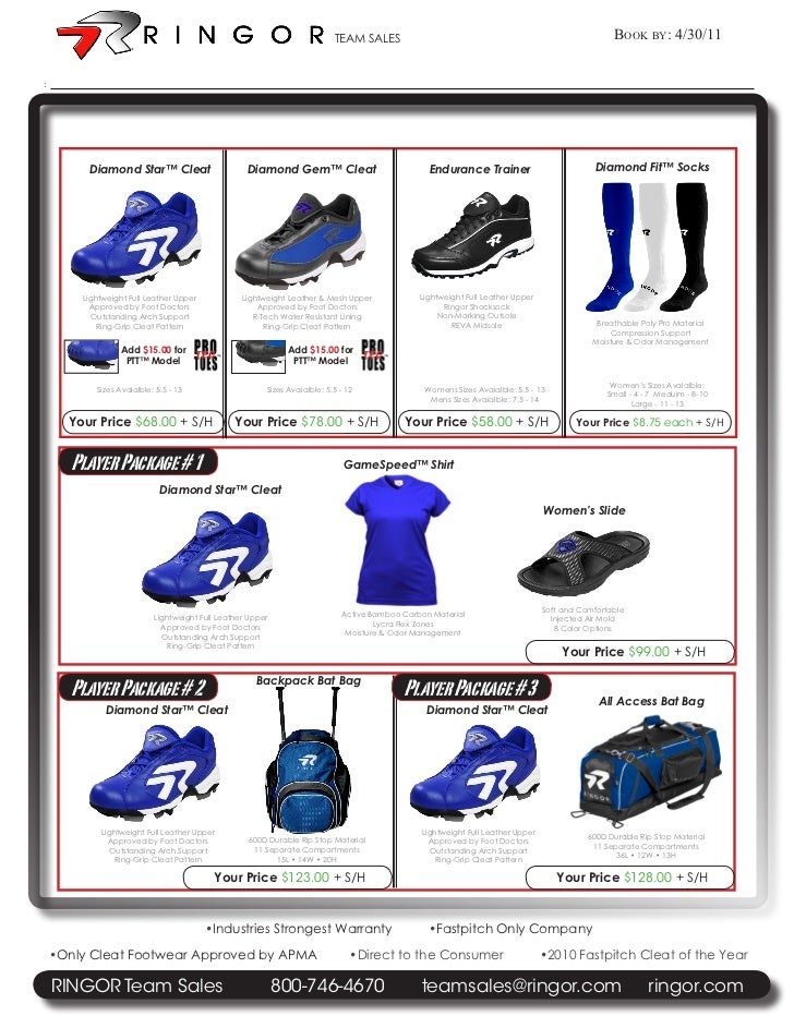 TEAM SALES                                                            Book By: 4/30/11:         Diamond Star™ Cleat       ...