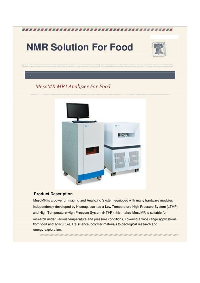 Nmr solution for food niumag for Solution cuisine