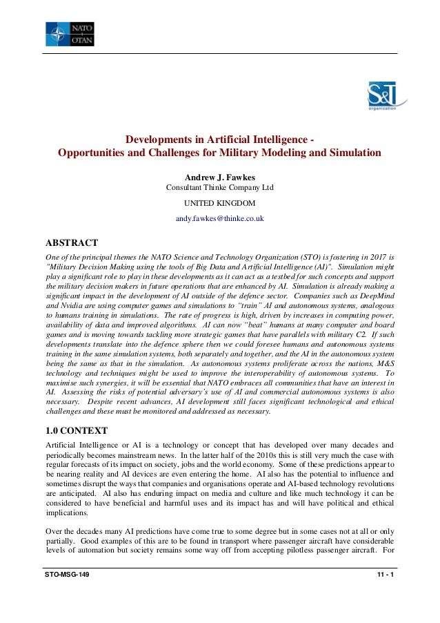 STO-MSG-149 11 - 1 Developments in Artificial Intelligence - Opportunities and Challenges for Military Modeling and Simula...