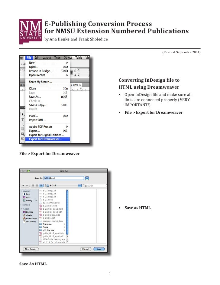 E-Publishing Conversion Process            for NMSU Extension Numbered Publications            by Ana Henke and Frank Shol...