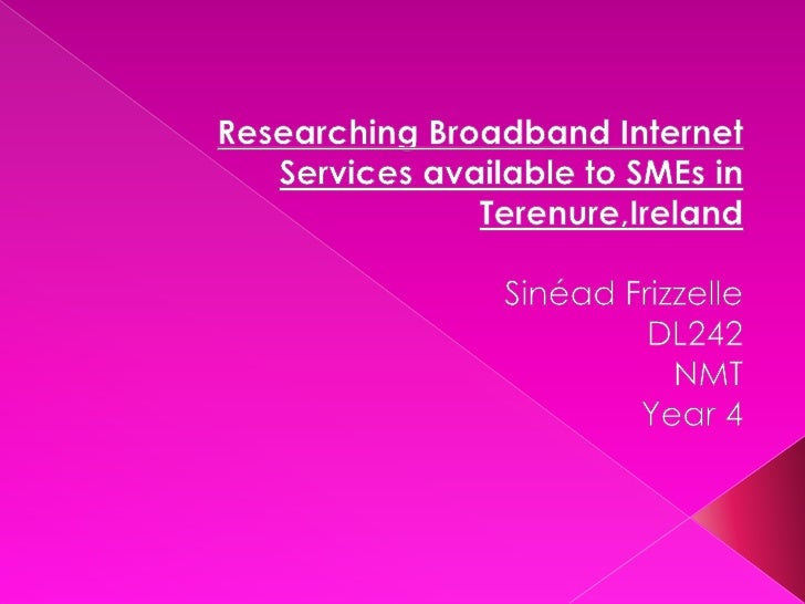 Researching Broadband Internet Services available to SMEs in Terenure,Ireland<br />SinéadFrizzelle<br />DL242<br />NMT<br ...