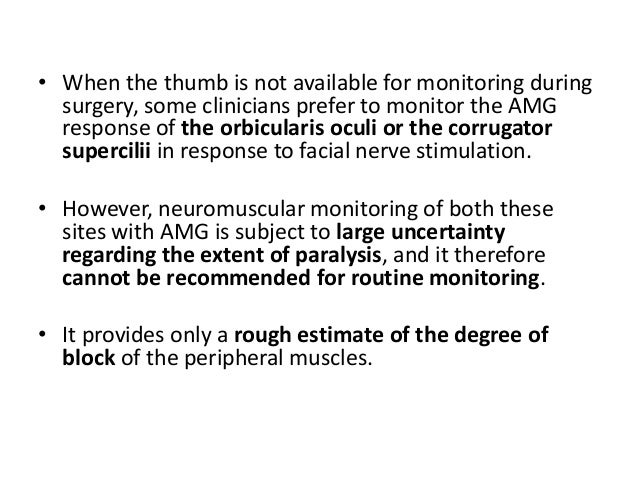 • Levels of block after a normal intubating dose of a nondepolarizing neuromuscular blocking agent (NMBA) as classified by...