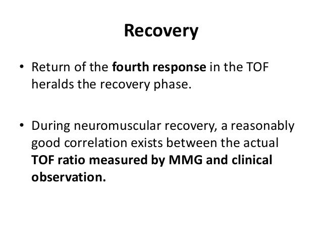 • Typical recording of the mechanical response to train-of-four ulnar nerve stimulation after injection of 1 mg/kg of succ...