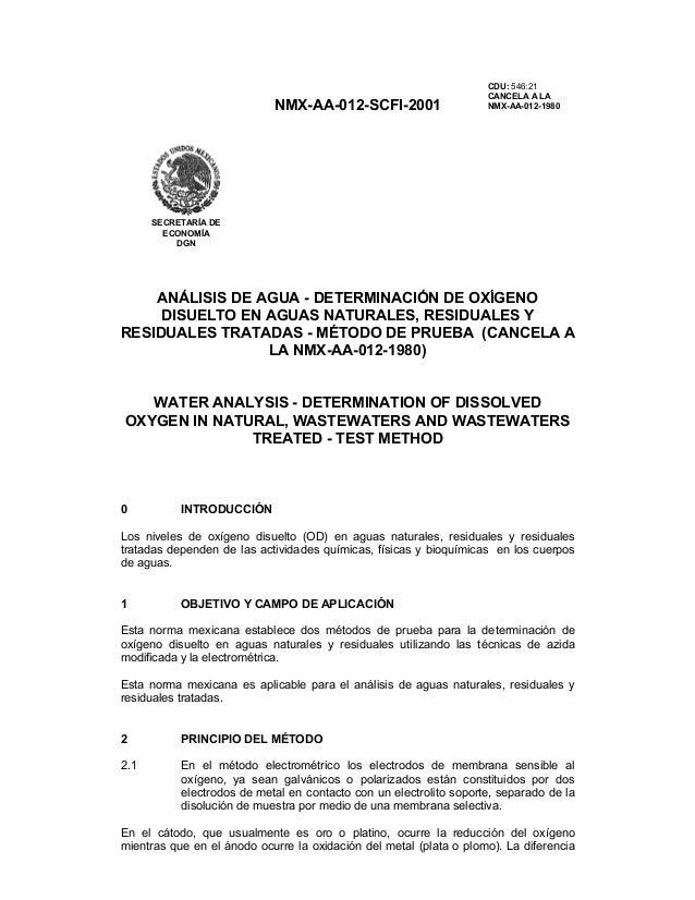 NMX-AA-012-SCFI-2001 CDU: 546:21 CANCELA A LA NMX-AA-012-1980 ANÁLISIS DE AGUA - DETERMINACIÓN DE OXÍGENO DISUELTO EN AGUA...