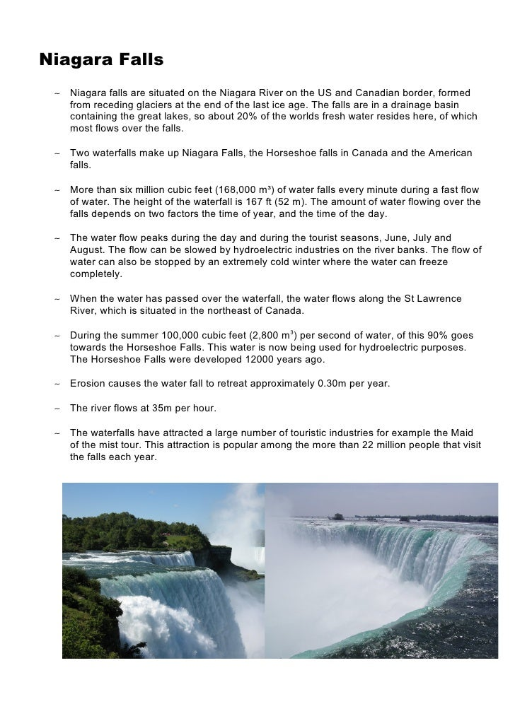 Niagara Falls  ∼ Niagara falls are situated on the Niagara River on the US and Canadian border, formed    from receding gl...