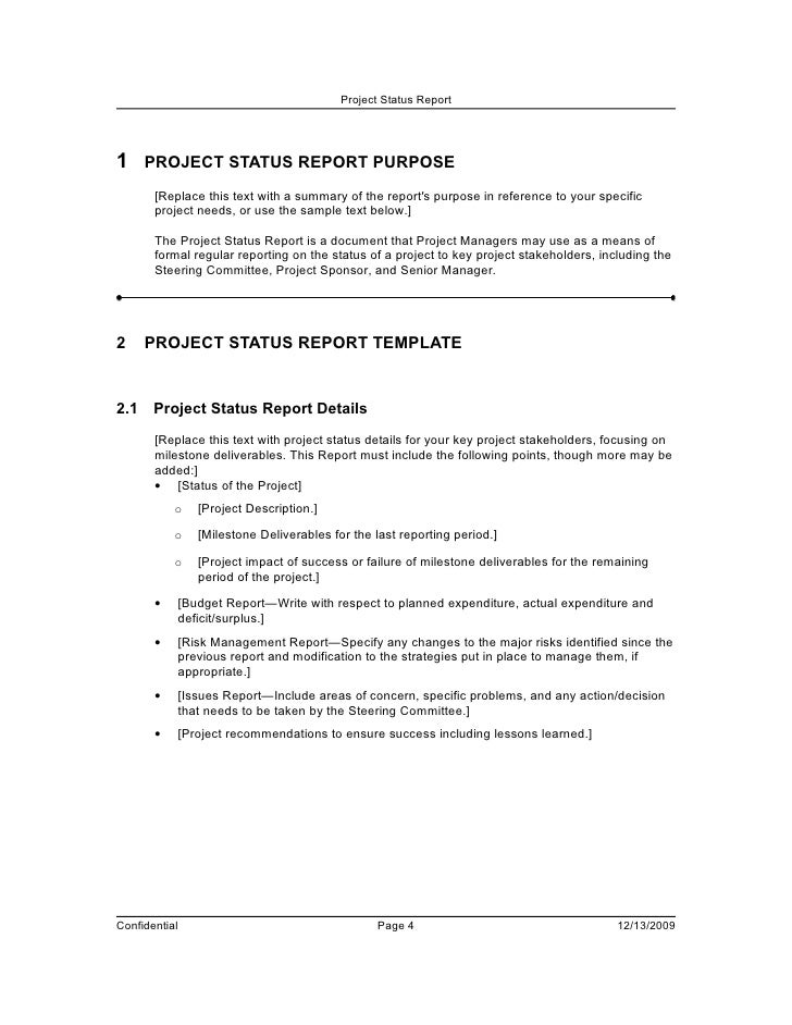 Agenda for Project Status Meeting