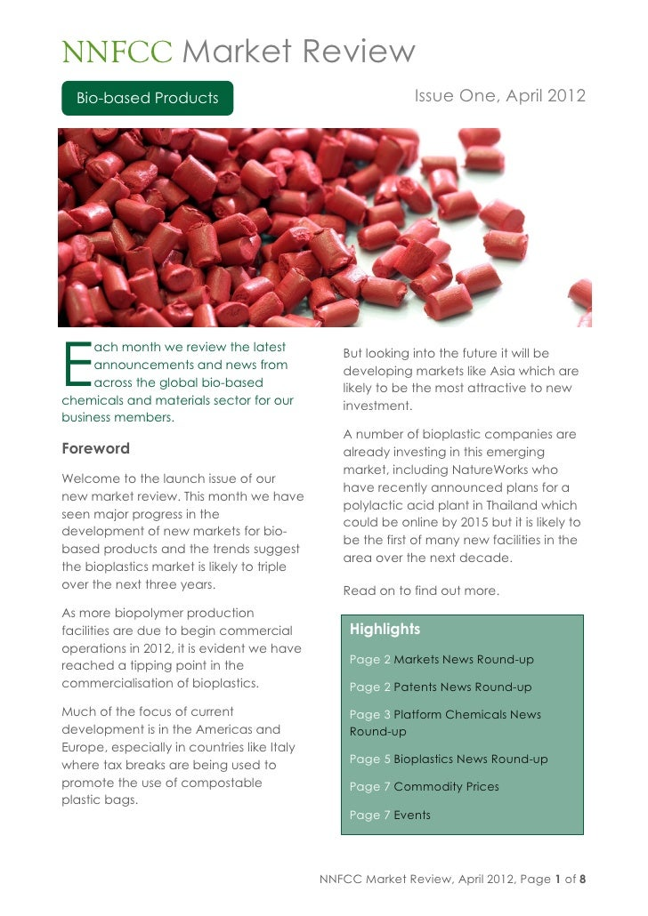 NNFCC market review bio based products issue one april 2012