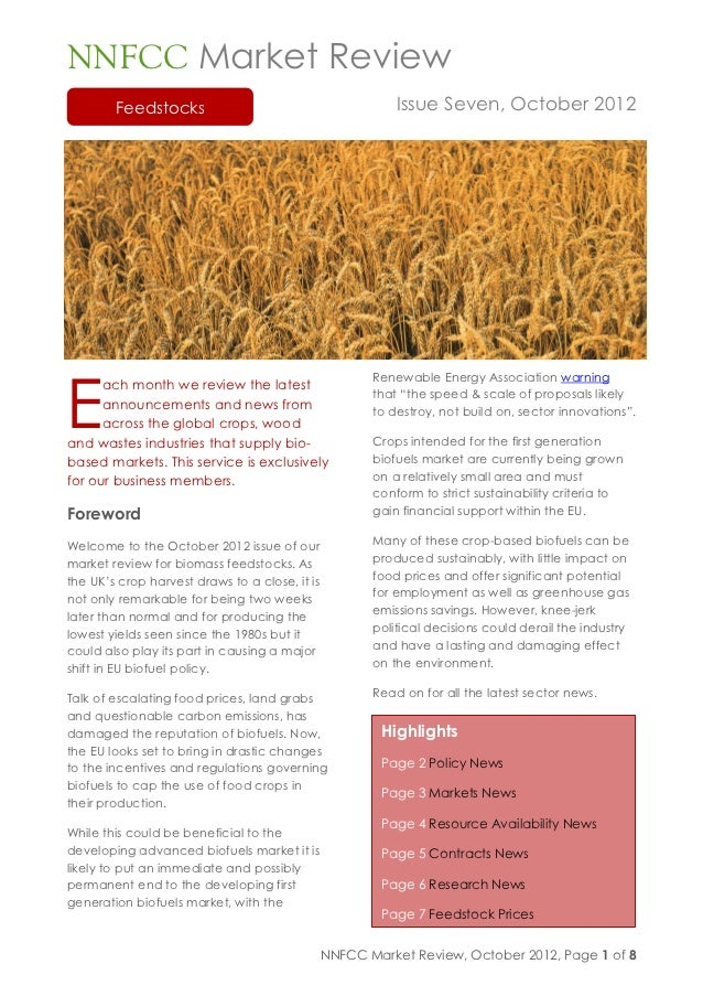 NNFCC Market Review        Feedstocks                                         Issue Seven, October 2012E                  ...