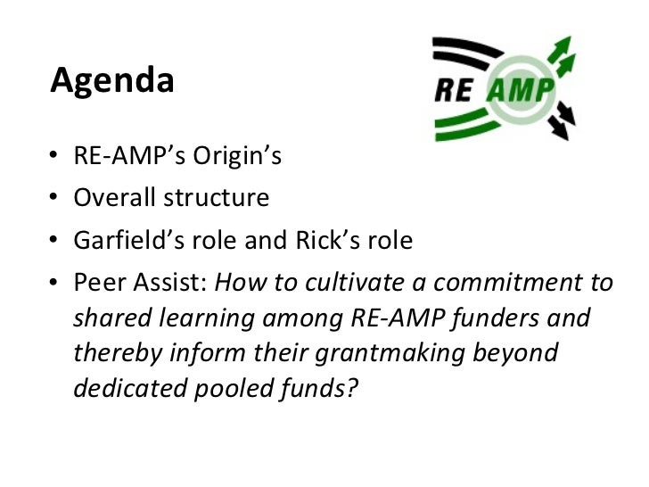 Agenda <ul><li>RE-AMP's Origin's </li></ul><ul><li>Overall structure </li></ul><ul><li>Garfield's role and Rick's role </l...