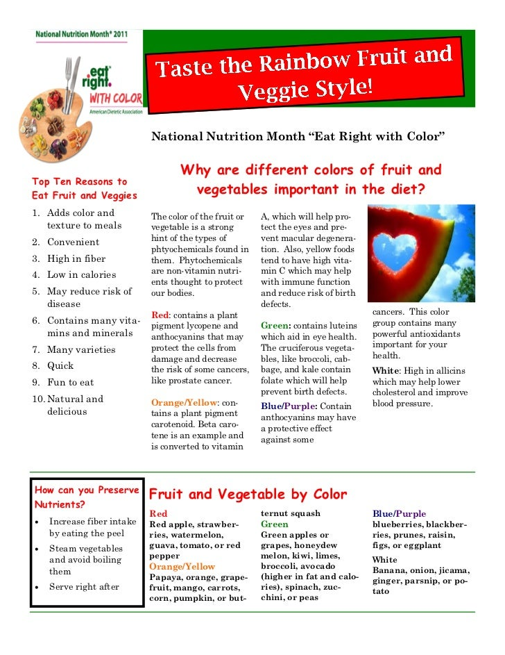 """National Nutrition Month """"Eat Right with Color""""                                   Why are different colors of fruit andTop..."""