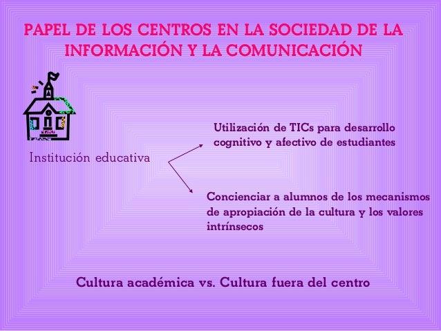 PAPEL DE LOS CENTROS EN LA SOCIEDAD DE LA INFORMACIÓN Y LA COMUNICACIÓN Institución educativa Utilización de TICs para des...