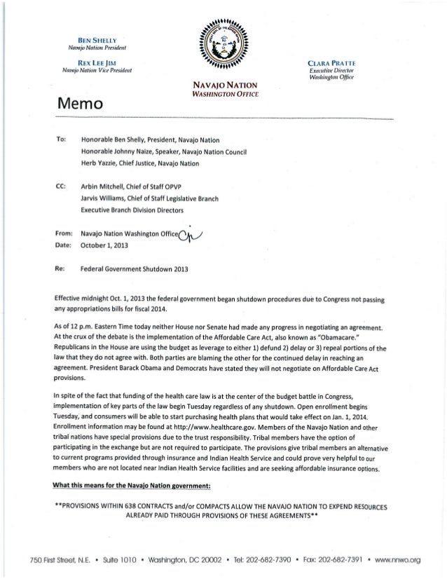 NNWO Memo to Navajo Leadership Regarding Federal Government Shutdown Impacts to the Navajo Nation 10.01.2013