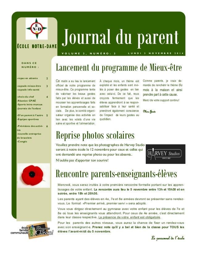ÉÉÉÉ CCCC OOOO LLLL EEEE NNNN OOOOTTTT RRRR EEEE -- DDDDAAAAMMMMEEEE Journal du parent  V O L U M E 3 , N U M É R O : 3 L ...