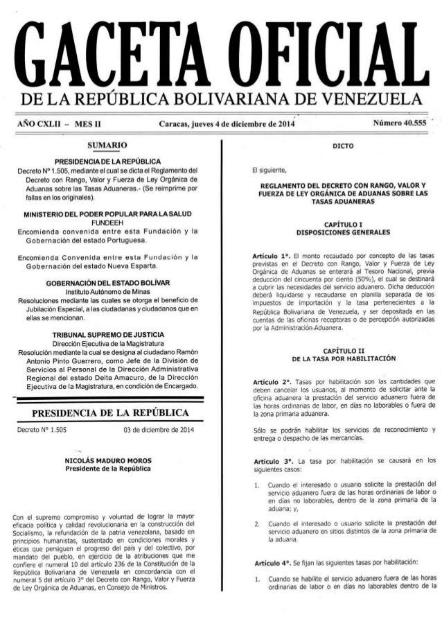 GACETA OFICIAL  DE LA REPÚBLICA BOLIVARIANA DE VENEZUELA     ANO CXLII - MES ll Caracas,  jueves 4 de diciembre de 2014 Nú...