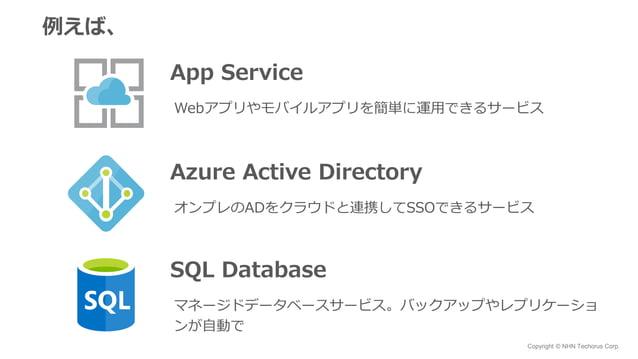 Copyright © NHN Techorus Corp. 例えば、 App Service Webアプリやモバイルアプリを簡単に運用できるサービス Azure Active Directory オンプレのADをクラウドと連携してSSOできる...