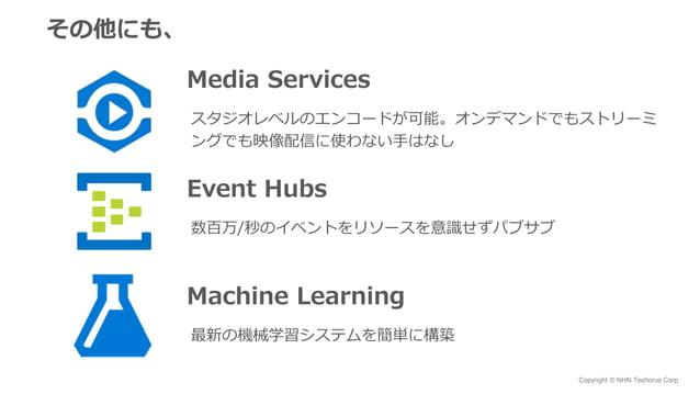 Copyright © NHN Techorus Corp. その他にも、 Media Services スタジオレベルのエンコードが可能。オンデマンドでもストリーミ ングでも映像配信に使わない手はなし Event Hubs 数百万/秒のイベン...