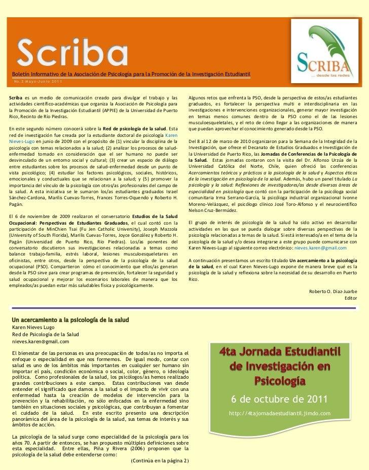 Boletín Informativo de la Asociación de Psicología para la Promoción de la Investigación Estudiantil   BOLET  No.2 Mayo-Ju...