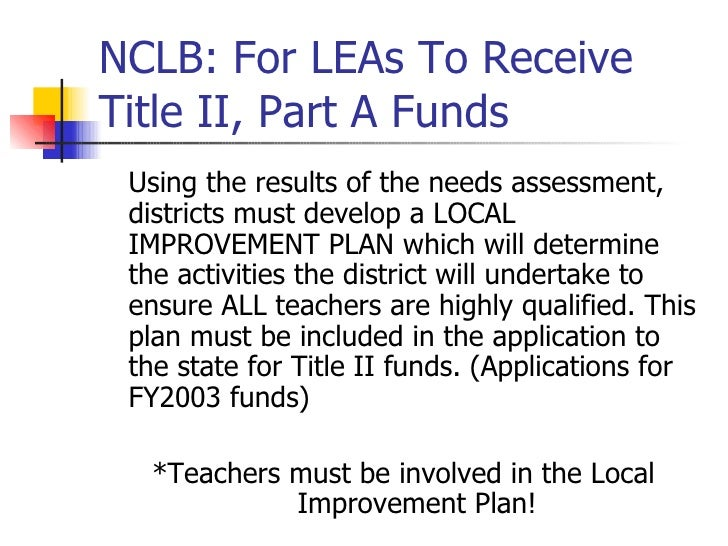 no child left behind proposal No child left behind act introduction the no child left behind tends to cause neglect to important subjects because they are non-tested subjects, such as social studies, art, health, and music with the neglect of these subjects, there is more focusing that's being done on the tested subjects, like math and reading.