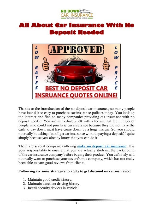 Can I Get Car Insurance Without Paying A Deposit - No deposit car insurance