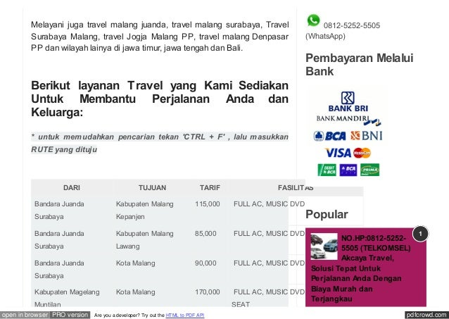 pdfcrowd.comopen in browser PRO version Are you a developer? Try out the HTML to PDF API Melayani juga travel malang juand...