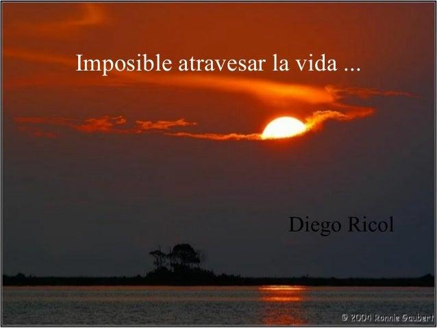 Imposible atravesar la vida ...                       Diego Ricol