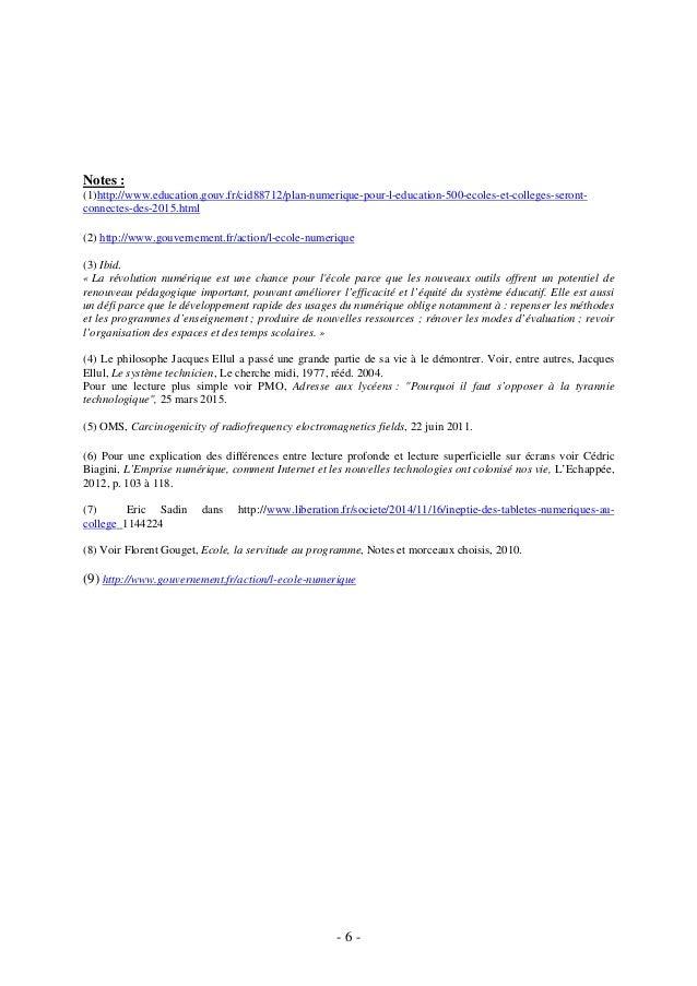 - 6 - Notes : (1)http://www.education.gouv.fr/cid88712/plan-numerique-pour-l-education-500-ecoles-et-colleges-seront- conn...