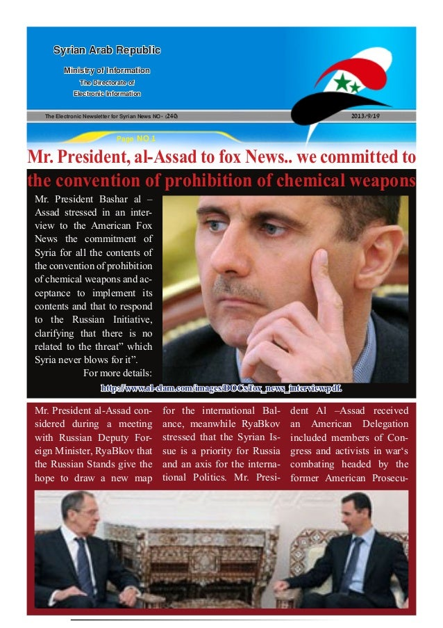 The Electronic Newsletter for Syrian News NO0 )240( 2013/9/19 Syrian Arab Republic Ministry of Information The Directorate...