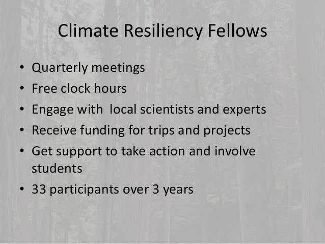 Climate Resiliency Youth Leadership Program • 4 day immersive program • Carbon sequestration in forests • Snow & glacier w...