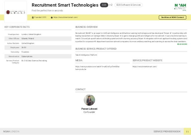 Recruitment Smart Technologies B2B + 2 B2B Software & Services Find the perfect hire in seconds Founded: 2015 https://recr...