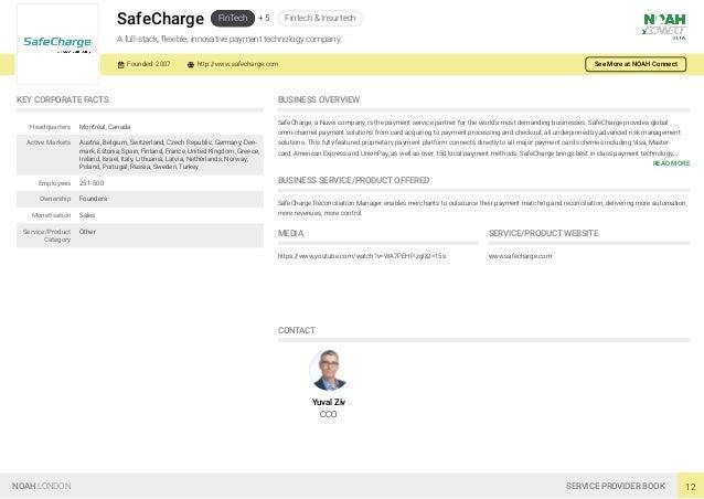 SafeCharge FinTech + 5 Fintech & Insurtech A full-stack, flexible, innovative payment technology company. Founded: 2007 htt...
