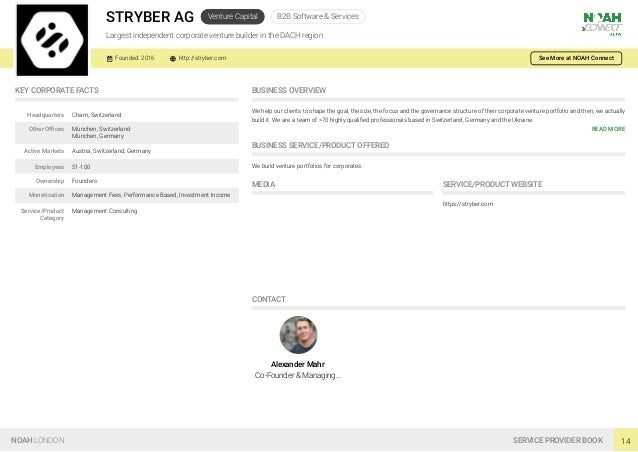 STRYBER AG Venture Capital B2B Software & Services Largest independent corporate venture builder in the DACH region Founde...