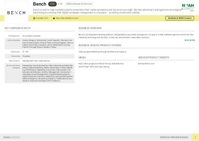 Bench B2B + 13 B2B Software & Services Bench is built to help marketing teams streamline their media operations and become...