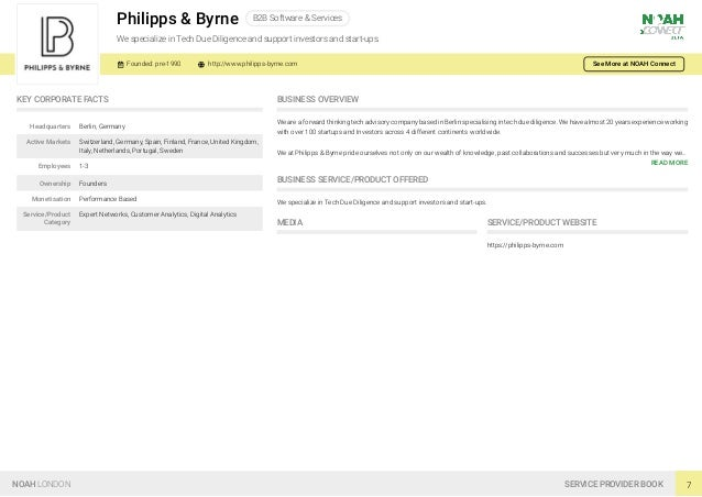 Philipps & Byrne B2B Software & Services We specialize in Tech Due Diligence and support investors and start-ups. Founded:...