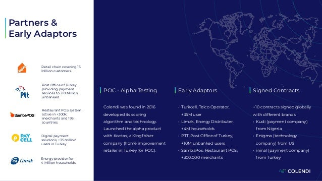 POC - Alpha Testing Colendi was found in 2016 developed its scoring algorithm and technology. Launched the alpha product w...