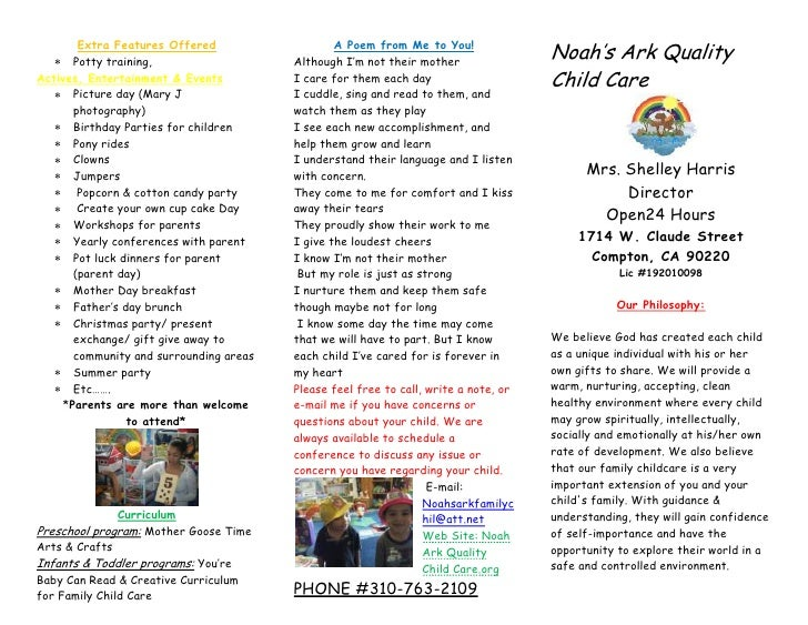 Noah'S Ark Quality Child Care Brochure