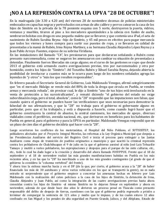 """¡NO A LA REPRESIÓN CONTRA LA UPVA """"28 DE OCTUBRE""""!  En la madrugada (de 3.30 a 4.20 am) del viernes 28 de noviembre decena..."""