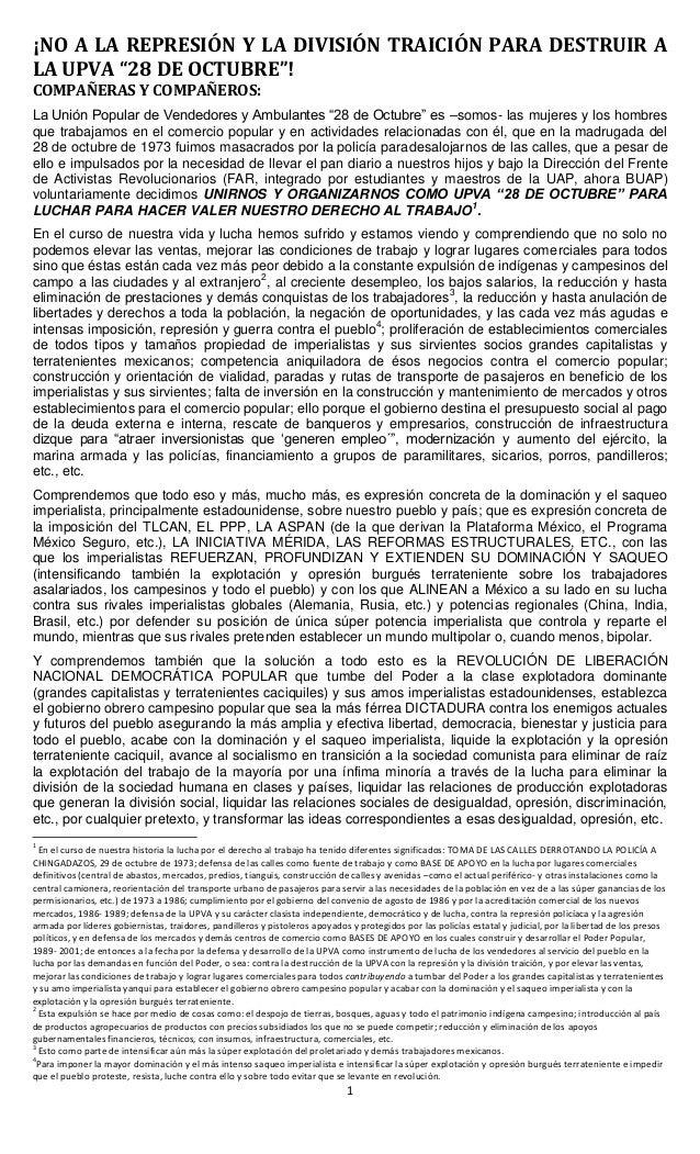 """1 ¡NO A LA REPRESIÓN Y LA DIVISIÓN TRAICIÓN PARA DESTRUIR A LA UPVA """"28 DE OCTUBRE""""! COMPAÑERAS Y COMPAÑEROS: La Unión Pop..."""